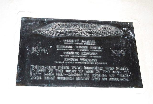 First World War Memorial, Burwell Church, Lincolnshire