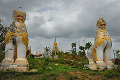 Chinthes temple guardians in Thaung Tho