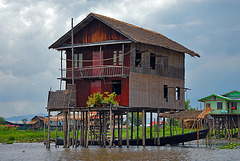 Simple house on the waterway