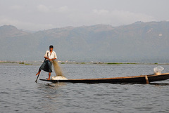 Fisherman leg-rowing