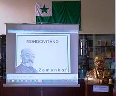"""Projekciado de la filmo """"Zamenhof - Mondcivitano"""" la 14-an de aprilo 2012  en Svitavy"""