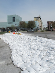 Bright white sandbags area.