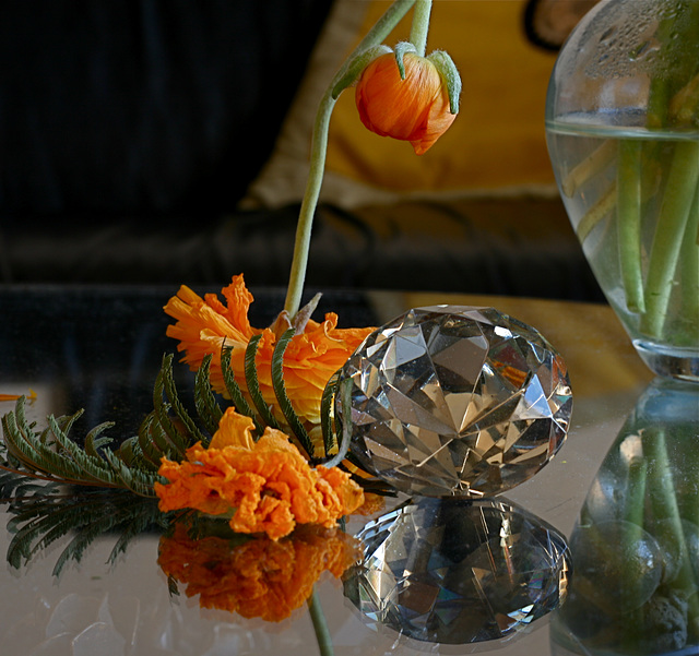 Fleurs et diamant