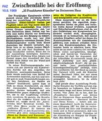 Zeitungsartikel FAZ vom 10.5. 1969 Städelschüler protestieren vor dem Kunstverein