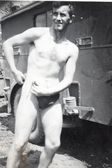 the only way to put on a Dreiecksbadehose!!! July 1943