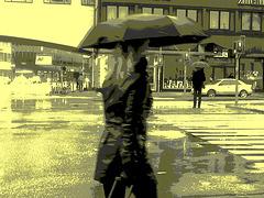 Umbrella blonde Lady in high-heeled boots / Dame blonde au parapluie en bottes à talons hauts / Vintage postérisé