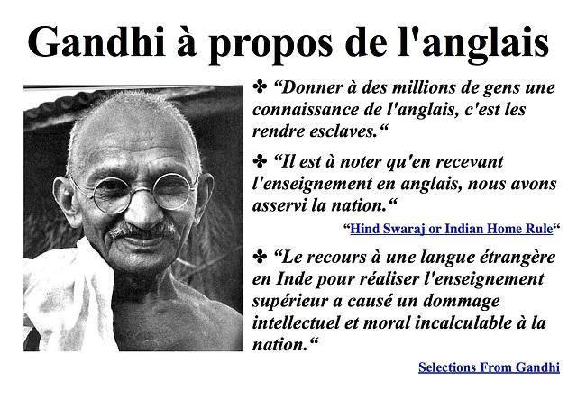 Gandhi à propos de l'anglais