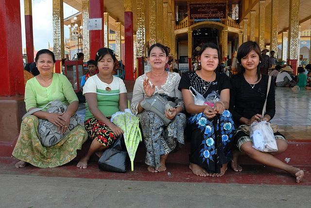 Five friendly lady pilgrims