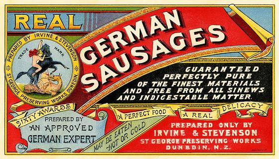Real German Sausages, Irvine & Stevenson,  St. George Preserving Works, Dunedin, New Zealand