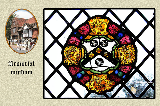 Anne of Cleves' house - armorial window - Lewes - 23.7.2014
