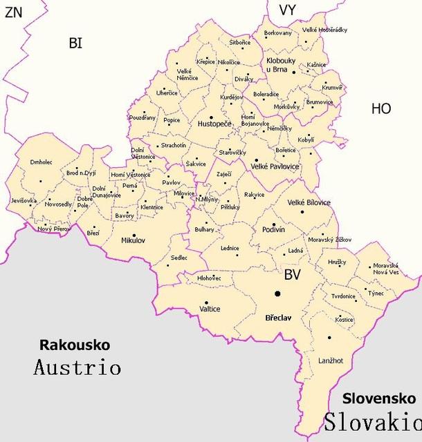 Mapo de distrikto Břeclav