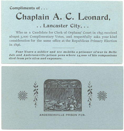 Chaplain A. C. Leonard, Candidate for Clerk of Orphans' Court, Lancaster, Pa., 1896