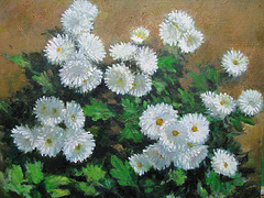 Chrysanthemum white = Krizantemo blanka _ oil on canvas_32x41cm(6f)_2012_HO Song