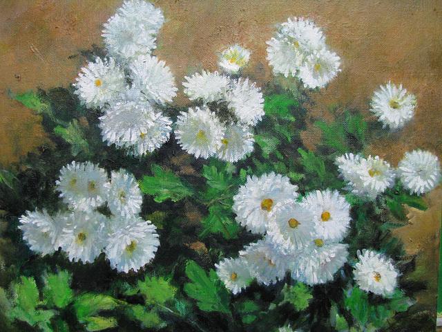 Chrysanthemum white = Krizantemo blanka_oil on canvas_32x41cm(6f)_2012_HO Song