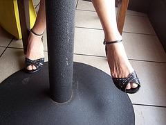 wife wearing bandolino heels