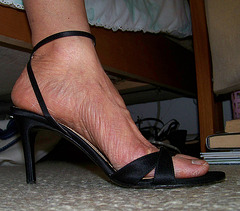wife in ann taylor strappy heels