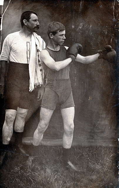 Young Boxer and Trainer, c1910