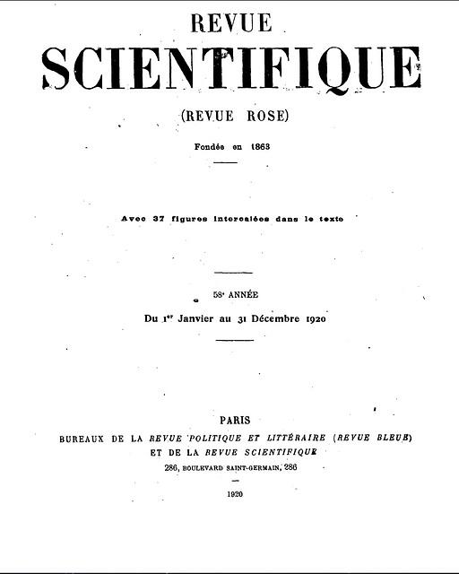 Revue scientifique, 1920, Hommage à Carlo Bourlet