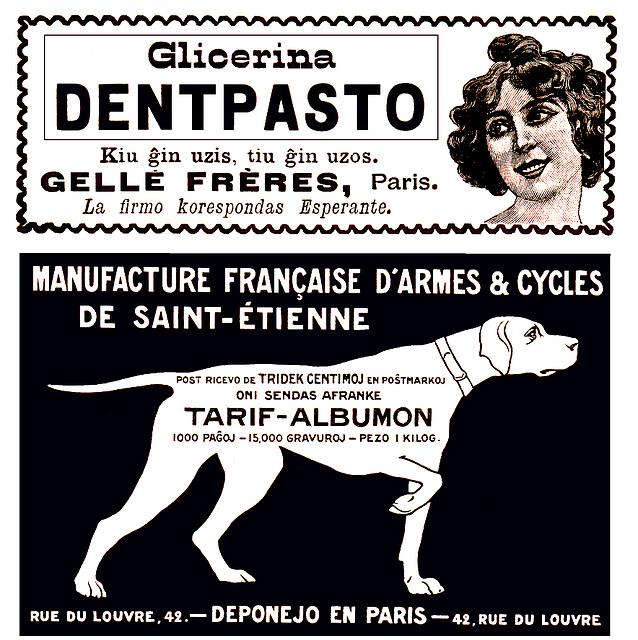 Reklamo en La Revuo, 1907