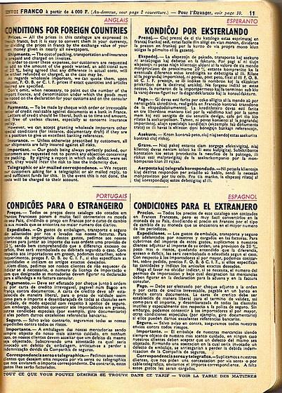 Manufrance 1957, vendkondiĉoj en la tarif-albumo