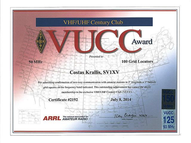ARRL VUCC-50 MHz