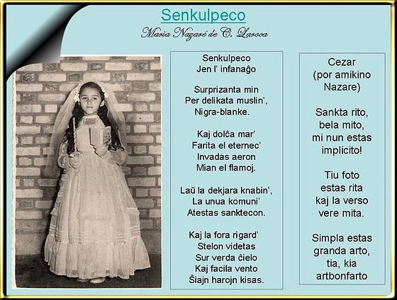 Aranĝinto Liette Lela:  Maria Nazaré Laroca, Senkulpeco /Cezar: Efiko de arto (poemo por poemo Senkulpeco)
