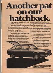 Renault 20 2 litre Advert - Car Magazine August 1979