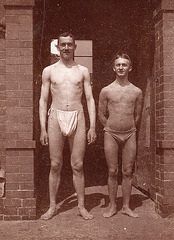 1 swimmer in a loincloth or tanga and one without, 1910'