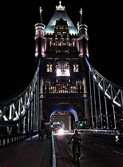 Cycling across the bridge