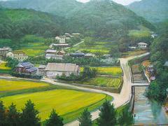 memory of Kumamoto Japan=memoro pri Kumamoto Japanio_oil on canvas=olefarbe sur tolo_32x41cm(6f)_2011_Song Ho