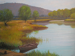 memory of Yangpyong=memoro pri Yangpyong_oil on canvas=olefarbe sur tolo_32x41cm(6f)_2009_Song Ho