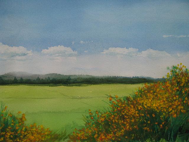 memory of Bretagne France, May 2012=memoro pri Bretonio Francio, majo 2012_watercolor=akvarelo_34x53cm(10m)_2012_Song Ho