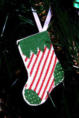 Candy Stripe Stocking Ornament - 1995