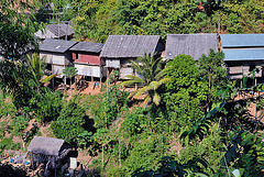 Simple huts at the hill slope