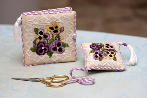 Victorian Pansies Needlebook and Scissor Fob 7/12/08