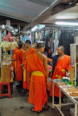 Monks shopping at the smuggling market