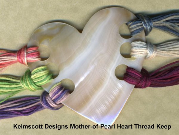 Kelmscott Mother of Pearl Heart Thread Keep