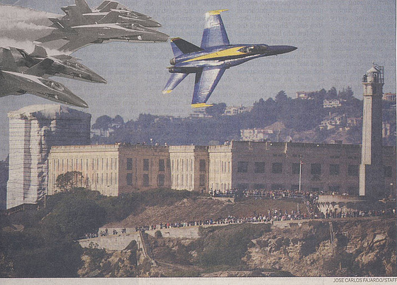 BLUE ANGELS FLYING OVER ALCATRAZ IN S.F.