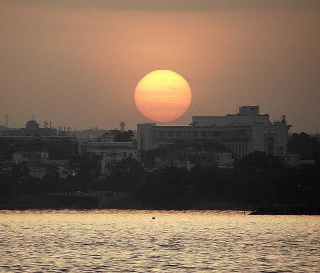 Sunset over Hussain Sagar