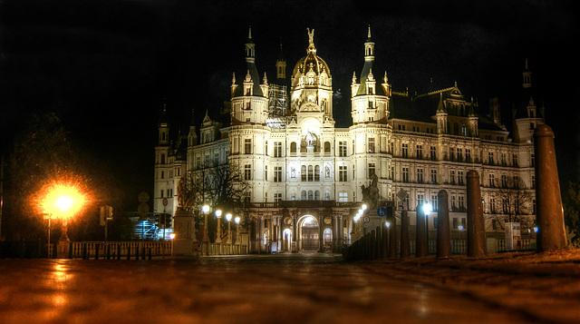 Castle of Schwerin by night