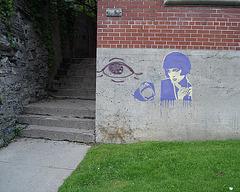 La Dame en bleu à l'oeil géant 13X / The Lady in blue with the 13X big eye - Photo originale