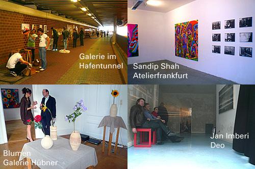 Zusammenschau Galerientag, Hafentunnel, Atelierfrankfurt, Galerie Huebner. Mai 2008