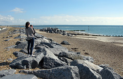 Granite sea defences, Sandy Point, South East Hayling Island