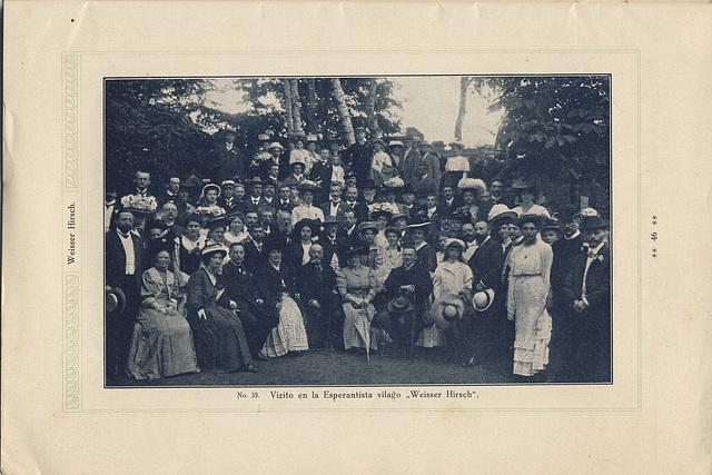 D-ro Zamenhof kun la edzino kaj  gekongresanoj  en esperantista vilaĝo aerkuracloko Weisser Hirsch (1908)