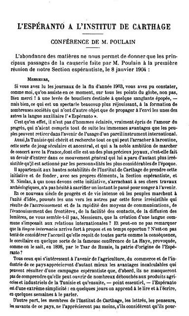 (FR) — 1 — L'espéranto à l'Institut de Carthage (1903-1904)