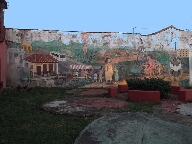 Cuban urban life on wall / Vie urbaine à la cubana sur mur  - 23 avril 2012.