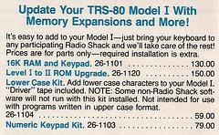 1983 Radio Shack Catalog - 16K RAM Upgrade $130