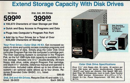 1983 Radio Shack Catalog - Floppy Disk Drive $599