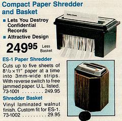 1983 Radio Shack Catalog - Shredder $249.95