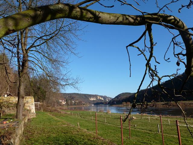 Herzliche Grüße zum Neuen Jahr aus dem Elbtal mit Blick auf Wehlen und Bastei
